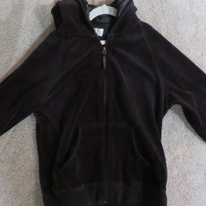 WOMEN'S - VELOUR BLACK HOODED LARGE SIZE JACKET